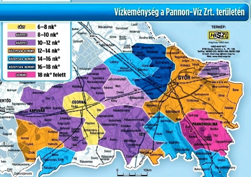 vízkeménység térkép budapest Vízminőség   vízkeménység   PANNON VÍZ Zrt. vízkeménység térkép budapest